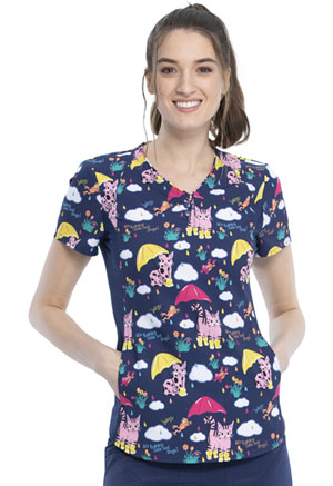 Cherokee V-Neck Top Raining Cats And Frogs (CK732-RACF)