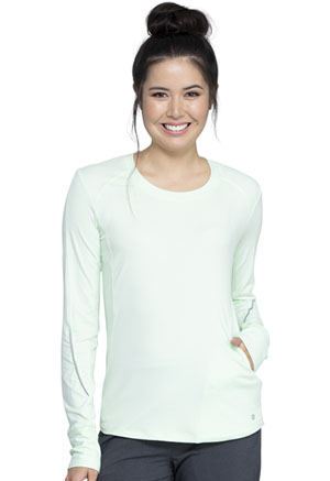 Cherokee Long Sleeve Underscrub Knit Tee Hint of Mint / White (CK765-HTWT)