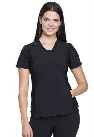 iFlex V-Neck Knit Panel Top (CK775-BLK) (CK775-BLK)