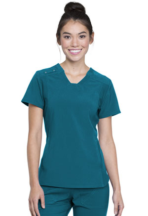 Cherokee V-Neck Knit Panel Top Caribbean Blue (CK775-CAR)