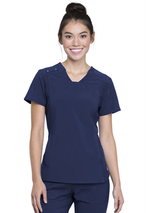 Cherokee V-Neck Knit Panel Top Navy (CK775-NAV)