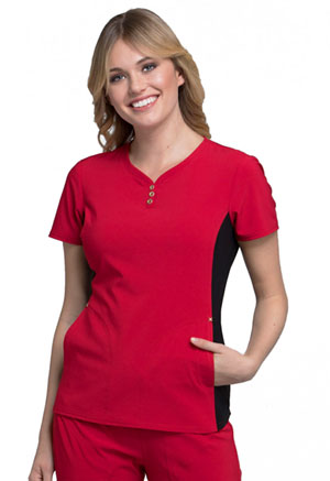 Cherokee iFlex by Cherokee Women's V-Neck Button Placket Top Red