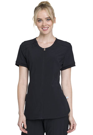 Cherokee Zip Front V-Neck Top Black (CK810A-BAPS)