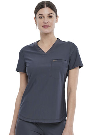 Cherokee Tuckable V-Neck Top Pewter (CK819-PWT)