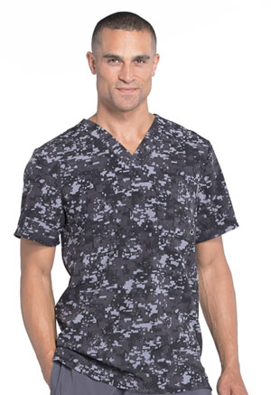 Cherokee Infinity by Cherokee Men's Men's V-Neck Top Gridlock Block Black