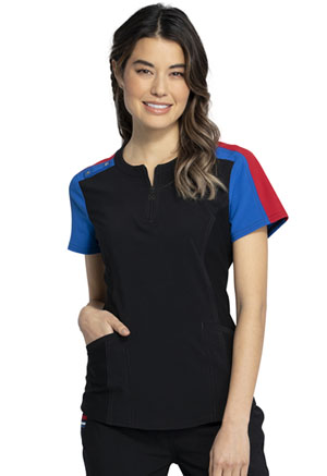 Cherokee Zip Neck Top Black (CKK821-BLK)