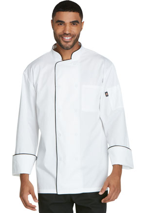 Dickies Chef Unisex Cool Breeze Chef Coat with Piping in White with Black Trim (DC411-WTBK)