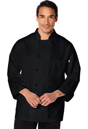 Dickies Chef Unisex Classic Knot Button Chef Coat Black (DC43-BLK)