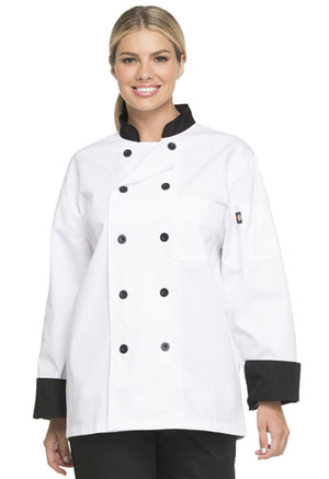 Dickies Chef Unisex Classic 10 Button Chef Coat in White with Black Trim (DC46-WTBK)