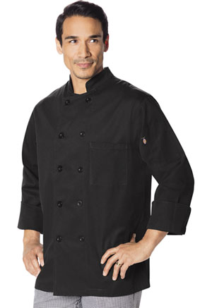 Dickies Chef Unisex Classic 10 Button Chef Coat in Black (DC47-BLK)