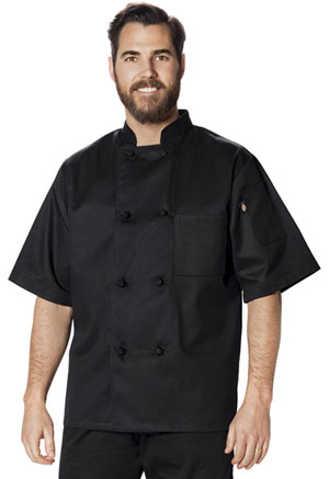 Dickies Chef Unisex Classic Knot Button Chef Coat S/S in Black (DC48-BLK)