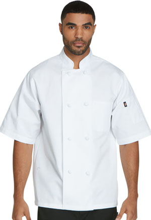 Dickies Chef Unisex Classic Knot Button Chef Coat S/S in White (DC48-WHT)
