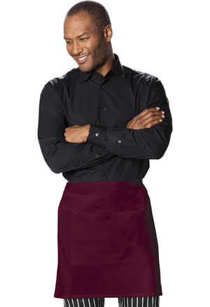 Dickies Chef Half Bistro Waist Apron with 2 Pockets in Burgundy (DC57-BURG)