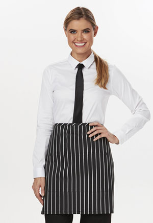 Dickies Chef Half Bistro Waist Apron with 2 Pockets Black/White Stripe (DC57-CKSP)