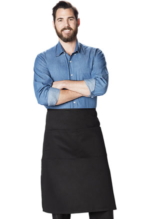 Dickies Chef Full Bistro Waist Apron with 2 Pockets in Black (DC58-BLK)