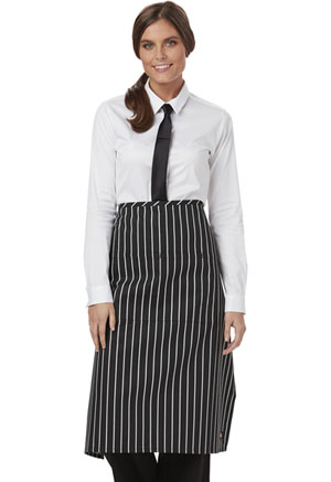 Dickies Chef Full Bistro Waist Apron with 2 Pockets in Black/White Stripe (DC58-CKSP)