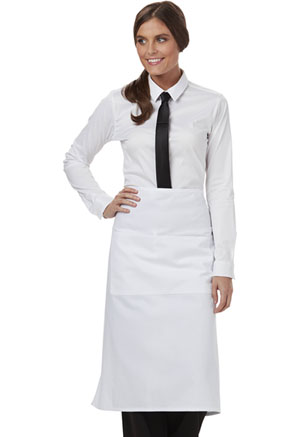 Dickies Chef Full Bistro Waist Apron with 2 Pockets in White (DC58-WHT)