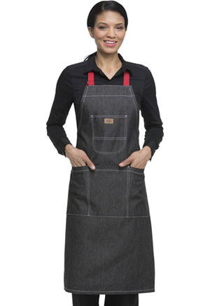 Dickies Chef Bib Apron with Red Straps in Black Denim (DC592R-BKDN)