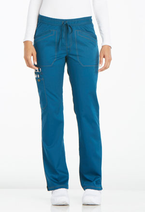 Dickies Essence Mid Rise Straight Leg Drawstring Pant in Caribbean Blue (DK106-CAR)