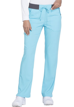 Dickies Xtreme Stretch Mid Rise Straight Leg Drawstring Pant in Icy Turquoise (DK112-ITQZ)