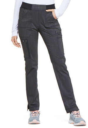 Dickies Advance Two Tone Twist Mid Rise Tapered Leg Rib Knit Waist Pant in Onyx Twist (DK165-ONXT)