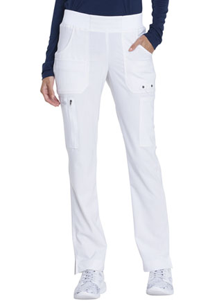 Dickies Advance Solid Tonal Twist Mid Rise Tapered Leg Pull-on Pant in White (DK195-WHT)