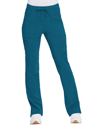 Dickies Advance Solid Tonal Twist Mid Rise Boot Cut Drawstring Pant in Caribbean Blue (DK200-CAR)