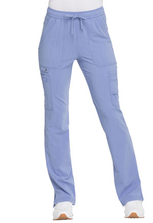 Dickies Advance Solid Tonal Twist Mid Rise Boot Cut Drawstring Pant in Ciel Blue (DK200-CIE)