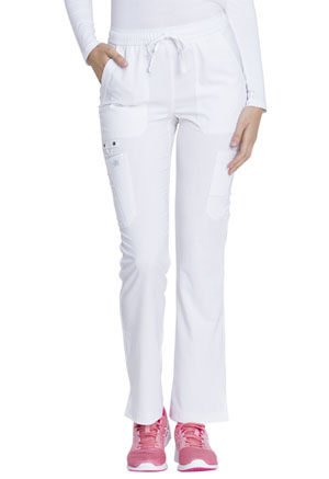 Dickies Advance Solid Tonal Twist Mid Rise Boot Cut Drawstring Pant in White (DK200-WHT)