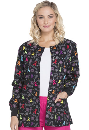 Dickies Dickies Prints Women's Snap Front Warm-Up Jacket Hopeful Hearts