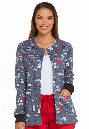 Dickies Prints Snap Front Warm-Up Jacket in Nurse Life (DK306-NULF)