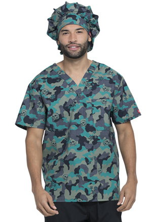 Dickies Prints Bouffant Scrubs Hat in Crosshatch Camo (DK500-CRCO)