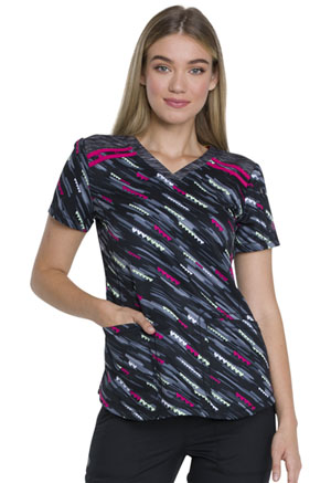 Dickies V-Neck Print Top Falling For Love (DK602-FALV)