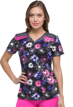 Dickies Dickies Dynamix Women's V-Neck Top To Dye Floral
