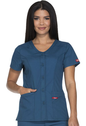 Dickies Button Front V-Neck Top Caribbean Blue (DK605-CAWZ)