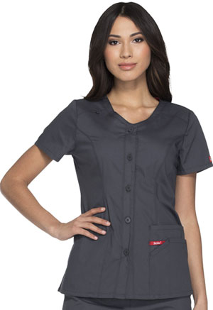 Dickies Button Front V-Neck Top Pewter (DK605-PTWZ)
