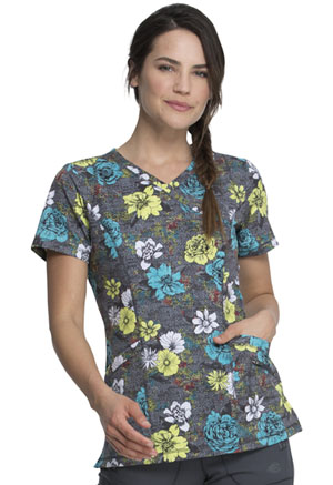 Dickies Prints Mock Wrap Top in Blooms So Bright (DK608-BMSB)