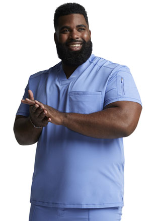Dickies Dynamix Men's Tuckable V-Neck Top in Ciel Blue (DK610-CIE)