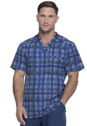 Dickies Dynamix Men's V-Neck Top in Positively Plaid Navy (DK611-PDNV)