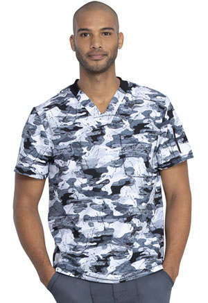 Dickies Dynamix Men's V-Neck Top in Stone Cold Camo Pewter (DK611-STPW)