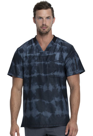 Dickies Dynamix Men's V-Neck Top in Tie Dye Stripes Pewter (DK613-TYDI)
