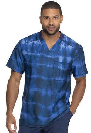 Dickies Dynamix Men's V-Neck Top in Tie Dye Stripes Navy (DK613-TYNY)