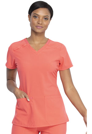 Dickies EDS Essentials V-Neck Top in Papaya Punch (DK615-PAPC)