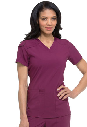Dickies EDS Essentials V-Neck Top in Wine (DK615-WNPS)
