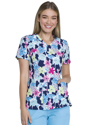 Dickies Prints V-Neck Top in Finger Paint Floral (DK616-FIPF)