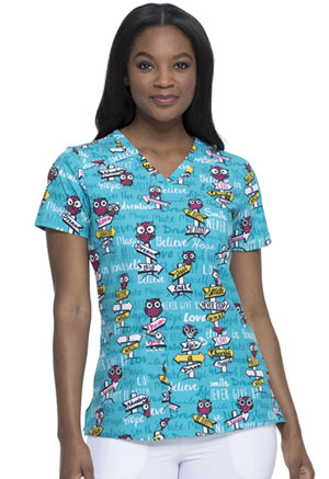 Dickies V-Neck Print Top It Was Owl A Dream (DK616-ITOL)