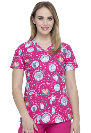 Dickies Prints V-Neck Top in They See Me Rollin' (DK617-THMR)