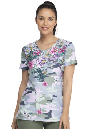 Dickies Dynamix V-Neck Top in Flower Frenzy Camo (DK618-FOFZ)