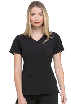 Dickies EDS Essentials Mock Wrap Top in Black (DK625-BAPS)
