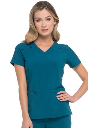 Dickies EDS Essentials Mock Wrap Top in Caribbean Blue (DK625-CAPS)